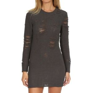 IRO Gray Cevoc Shredded Mini Dress NEW!